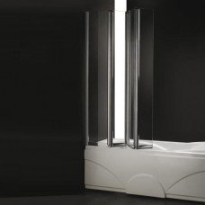 Шторка для ванны Cezares Trio V3 90/140 C Cr прозрачное стекло, профиль хром L левая