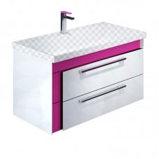 Тумба под раковину Iddis Color Plus 90 белая/розовая